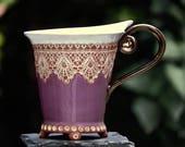 Ceramic Cup, Tea Cup, Handmade pottery, Ceramics and pottery , Handmade cup, Coffee cup, Violet cup, Coffee mug,  Wedding gift, Mug, Purple