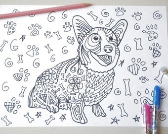 Welsh Corgi Dog Coloring Colouring Adult Sheet Download Queen Dogs Zen Printable