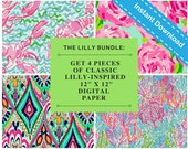 Lilly Digital Paper - The Classics - Lilly Pulitzer Print Inspired Digital Scrapbooking Paper - Instant Download Clip Art