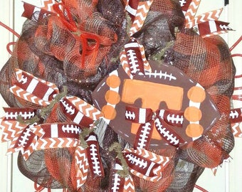 University of Tennessee wreath, Tennessee Volunteers wreath, Rustic Tenn wreath, Tennessee Football wreath, burlap football wreath