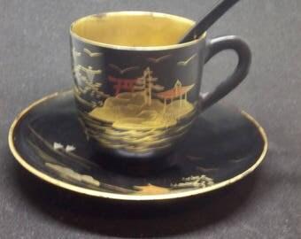Fuji wood tea cup, saucer, and spoon