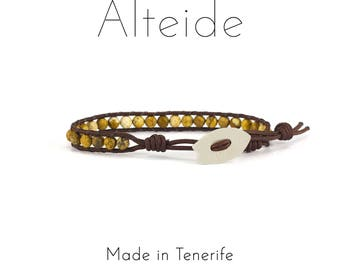 Bracelet El Medano 1 wave - Alteide - made in Tenerife - surf inspired - 925 Silver - man woman - Jasper Sand