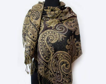 Gold Brown Scarf, Boho Shawl, Paisley Scarf, Gold Shawl, Fashion Floral Scarf, Indian Shawl, Ethnic Scarf, Gifts for Her Under 20