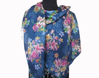 Blue Boho Shawl, Floral Pashmina Scarf, Blue Pink Scarf, Floral Fashion Shawl, Mothers Day Gift, Floral Shawl, Light Scarf, Gifts for Women