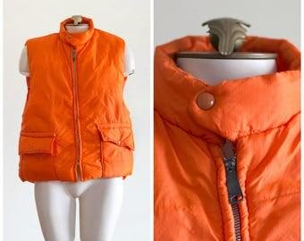 1970s orange puffy vest