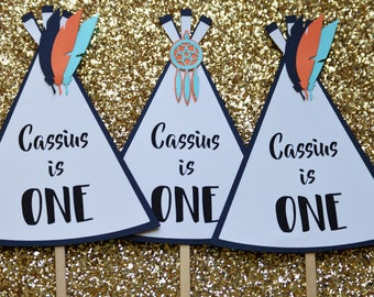 Wild One Cake Topper,1st Birthday Cake Topper,1st Birthday Boy,Teepee Cake Topper,Max Crown,Custom Cake Topper,Aztec Party,Tribal Party