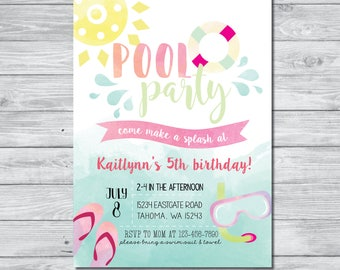 Pool Party Birthday Invitation, Pool Party Invite, Summer Birthday Invitation, Kids Summer Birthday Party, Summer Bash