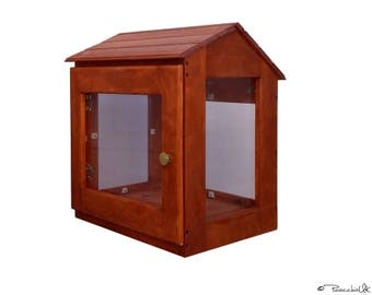 "OUTDOORS little library in rustic style. Book box. Neighborhood library | Natural wood. Moisture resistant. 25""x23""x19"". HIGH QUALITY"