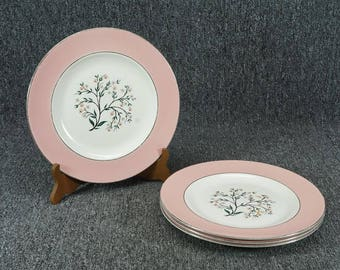 "Vintage Set Of 4 ""Springtime"" Porcelain Dinner Plates By Homer Laughlin"