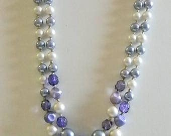 Japan Purple Beaded Pearl Layered Necklace