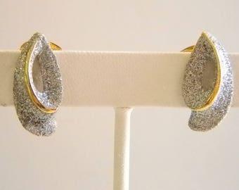 Silver Glitter Fancy Clip On Earrings