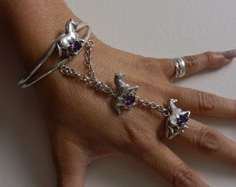 Carol Felley sterling silver and amethyst running horses slave bracelet 1991.  Rare and wonderful bracelet ring set, ring is size 8.5.