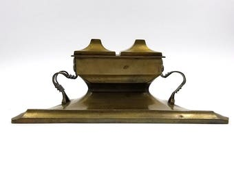 Solid Brass Art Deco Double Inkwell