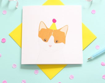 Birthday ginger and white cat card
