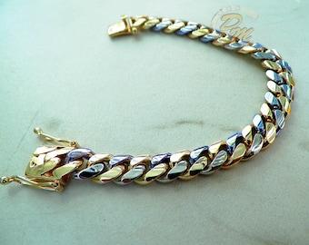 """Alternating 14K Yellow White Gold Men's Cuban Link Bracelet 8"""" 67.9 Grams 10mm"""