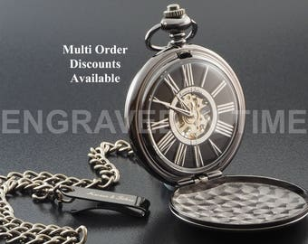 Personalised Skeleton Pocket Watch - Engraved Black Skeleton Pocket Watch With Roman Numerals - Gift Boxed - PW-9-M
