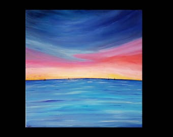 painting sunset over sailboats acrylic 40 x 40 cm