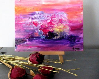 Mini tableau abstrait Art moderne rose Art abstrait