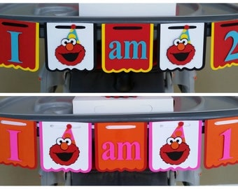 Elmo High Chair Banner, Elmo I am 1 Banner, Elmo I am 2 Banner, Girl Elmo High Chair Banner, Girl Elmo I am 1 Banner