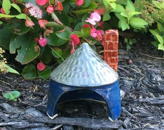 Pottery Toad Cottage, Toad House with chimney, lizard habitat, hand carved shingle roof