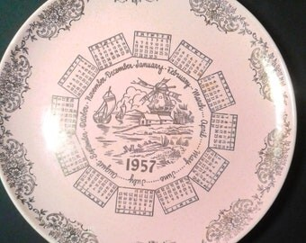 Vintage Calendar Plate 1957 - pink