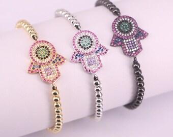 Hamsa Hand Charm Bracelets Adjustable Braiding Macrame CZ Bracelet Jewelry