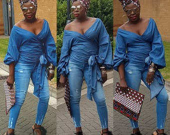 Towani Creations Chambray Denim Look Wrap Top With Exaggerated Ruffle Puff Sleeves  Size M/10-12UK/6-8USA Ready to Ship