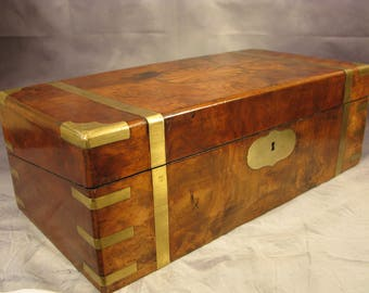 Stationary Cabinet Antique Victorian Marine Walnut Brass Ships Officer Campaign Writing Slope C1850