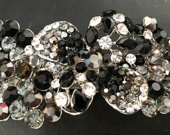 New Stunning  Black and Clear Floral Austrian Crystal Hair 4'' Barrette- Lever Back