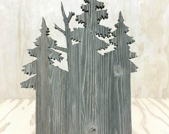 one of a kind weathered grey all wood hand cut scroll saw tree cut out landscape