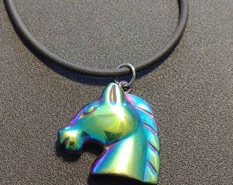 Green/Purple Hematite Horse Necklace, Horse  Necklace, Titanium Coated Hematite, Natural Stone Necklace, Rainbow Necklace