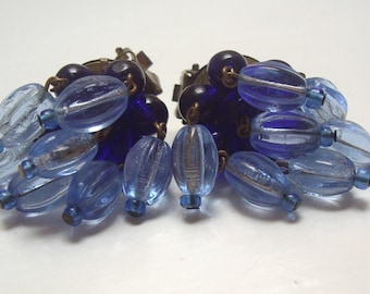 Vintage 1950's Large BLUE GLASS Dangle Bead Clip On EARRINGS signed West Germany 3cm non pierced - 40s 50s 60s Jewellery - W Germany Jewelry