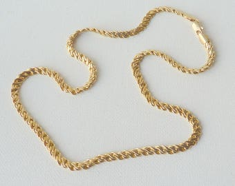 Vintage Gold Tone Flat Necklace, Flat Serpentine Linked Chain, Vintage Bold Necklace, Necklace from 80', Gold Costume Jewelry, Gold Necklace