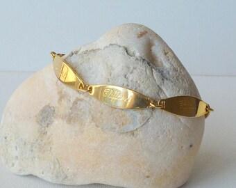 Gold Tone Link Bracelet Vintage Gold Bracelet Minimalist Gold Tone Speidel Jewelry, Modernist Bracelet Modern Gold Bracelet Clifford, Carol