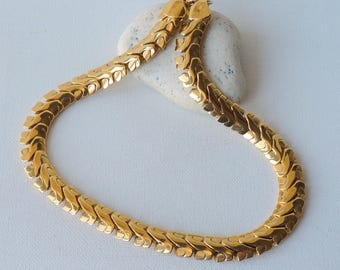 """Napier Gold Tone  Choker Necklace Gold Linked Vintage Bold Necklace 16 3/4"""" Necklace 80'Heavy Gold Costume Jewelry Signed Gold Necklace 80's"""