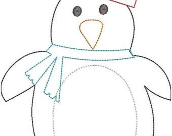 Winter Penguin Boy Applique Design-Triple Bean