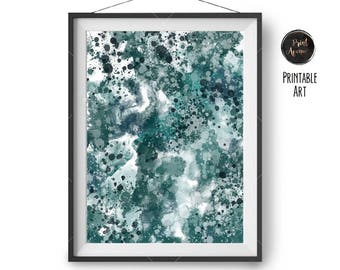 Abstract Watercolor Poster, Teal Digital Painting, Modern Art, Contemporary Poster, Paint Splatter Print, 50x70 cm Printable, Print Avenue