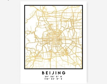 Beijing Map Coordinates Print - China City Street Map Art Poster, Gold Beijing Map Print, Beijing China Coordinates Chinese Poster Map Art