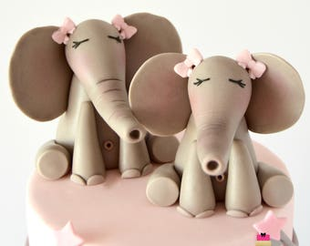 Mama and Baby Elephant Cake Toppers elephant cake toppers baby shower cake cake decorations elephant baby shower cake toppers