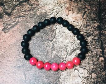 Pink Jade & Matte Onyx Bracelet, Women's Bracelet, Men's Bracelet, 8mm Stone Bracelet, Gemstone Bracelet. Stretch Bracelet.