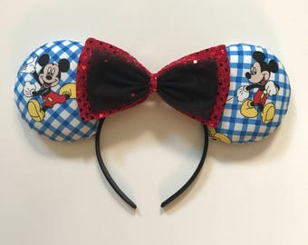 Checkered Mickey mouse ears headband