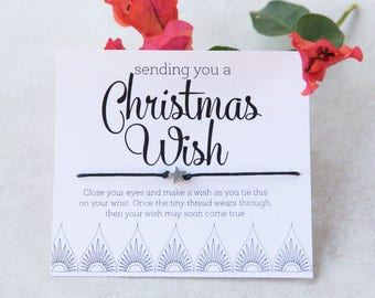 Christmas Wish Bracelet, Personalized Friendship Bracelet, Make a Wish, Present Topper, Gifts under 10, Gift for Friend, Gift for coworker