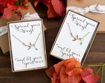 Mother Daughter Necklaces, Swallow, set of Two Necklace, Sister Bird Necklaces, Best Friend Necklaces, Sparrow Necklace, Silver Bird Jewelry