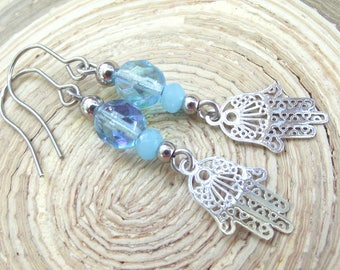 Hamsa earrings stainless steel glass turquoise hand of Fatima