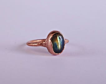 CLEARANCE: 30% OFF! Size 3.5 - Copper Electroformed Labradorite Ring