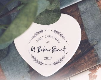 Personalised First Christmas At... 2017 -Ceramic Heart  - Christmas - Keepsake - Address - New Home
