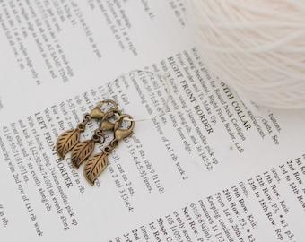 Crochet stitch markers, locking stitch markers, crochet gift, bag charm, bronze leaves, stitch keeper