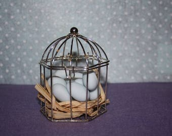"Containing sweets for baptism, communion or birth ""Birdcage"""