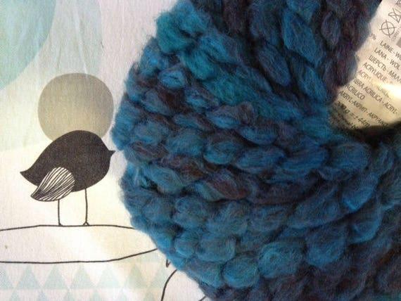 Turquoise - white horse FLEECE wool