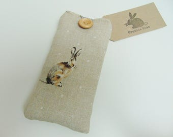 Handmade Hartley Hare Glasses Case, Country Bunny Rabbit Sunglasses Case, Cover or Pouch